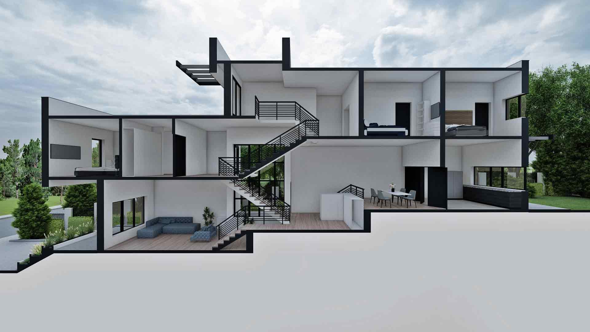 sectiune casa moderna