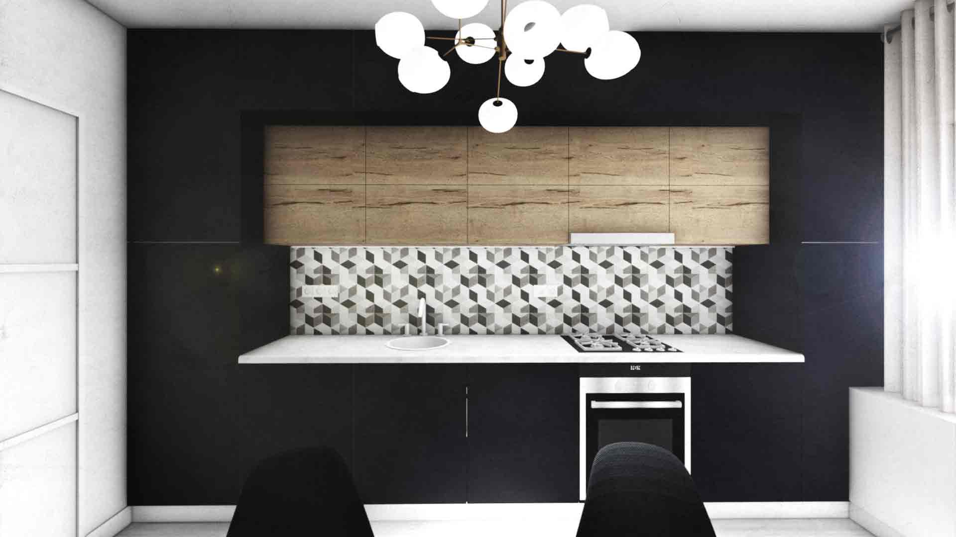 bucatarie neagra in apartament