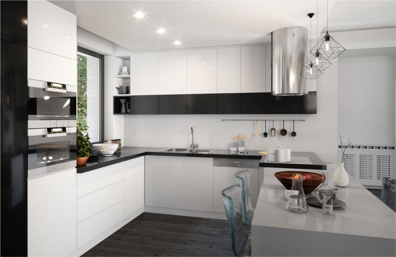 reflexiile frumosului bucatarie alb negru open space