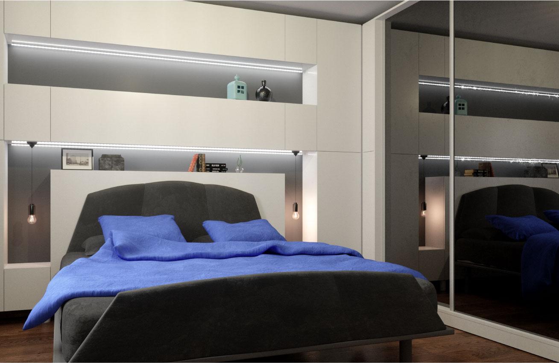 retro masculin dormitor gri alb minimalist