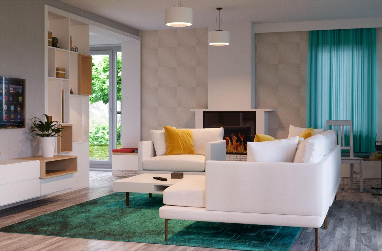 design living modern alb si verde