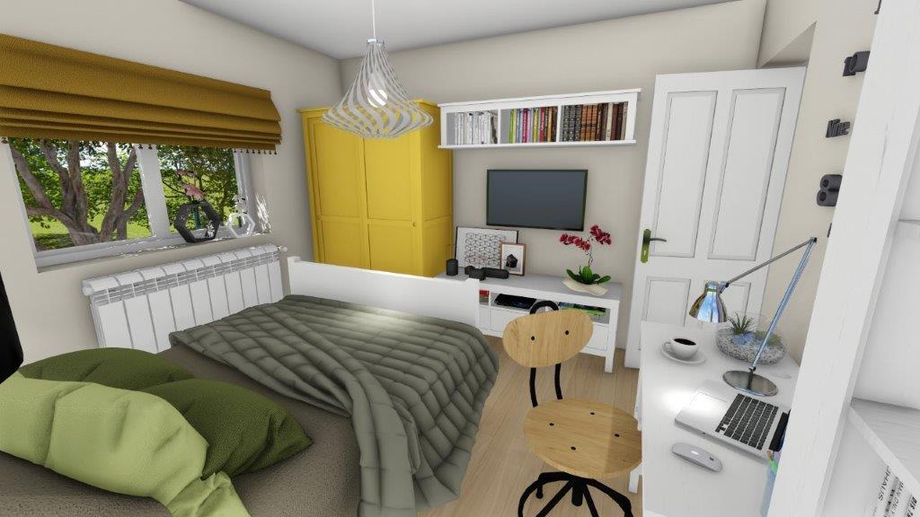 design dormitor cu pat gri