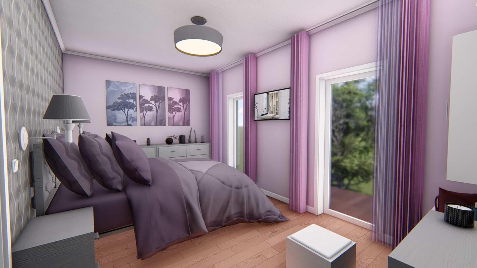 dormitor lila cu pat matrimonial