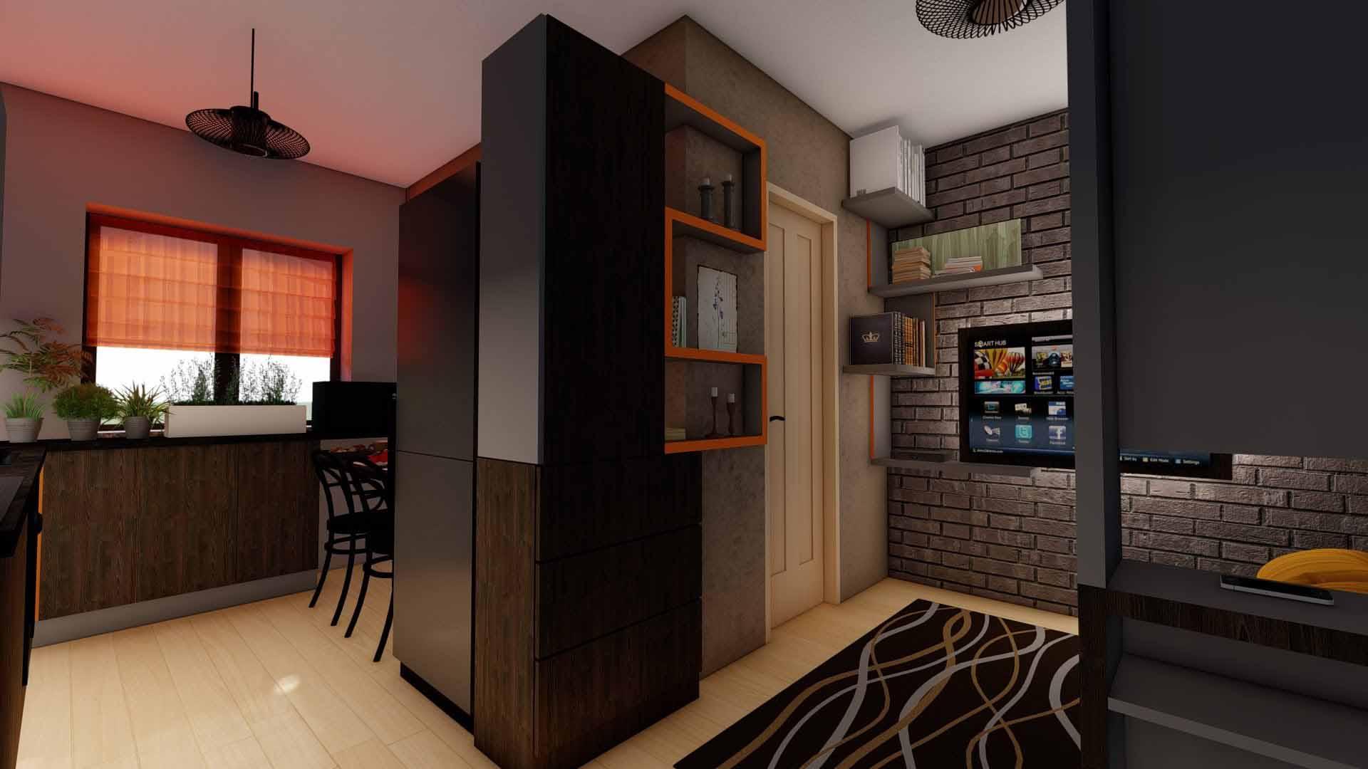 bucatarie moderna cu tv