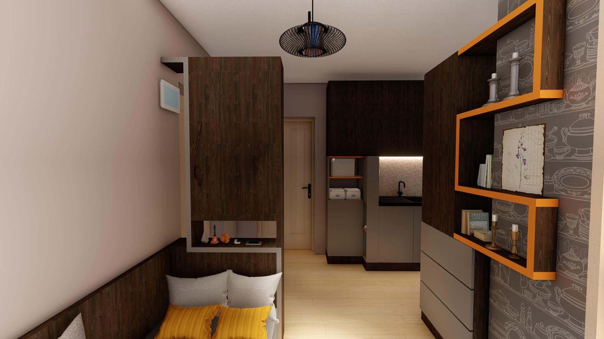 sufragerie moderna cu rafturi
