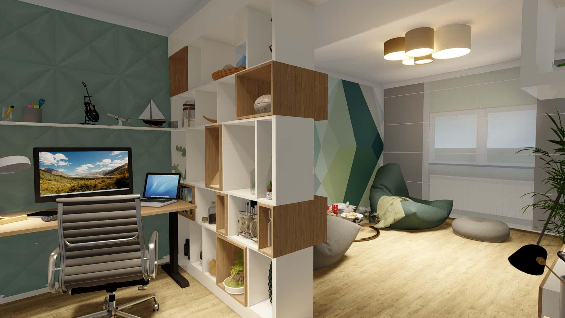 birou în living