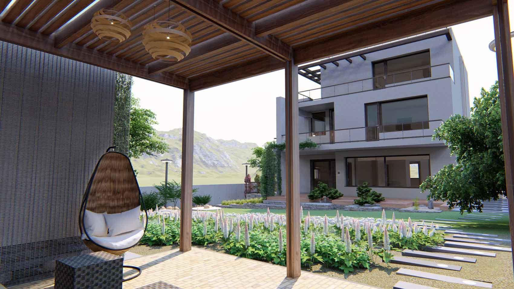 curte cu terasă