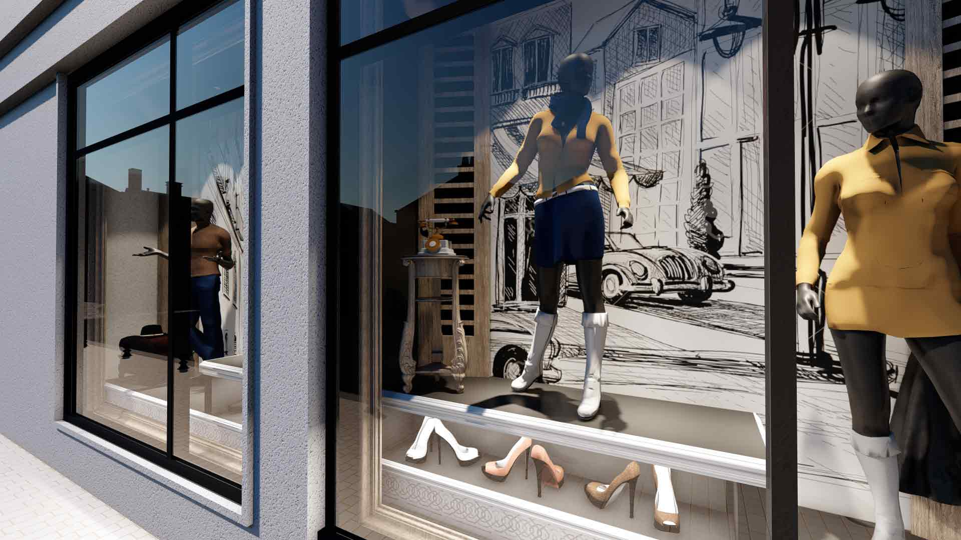 vitrină magazin de haine
