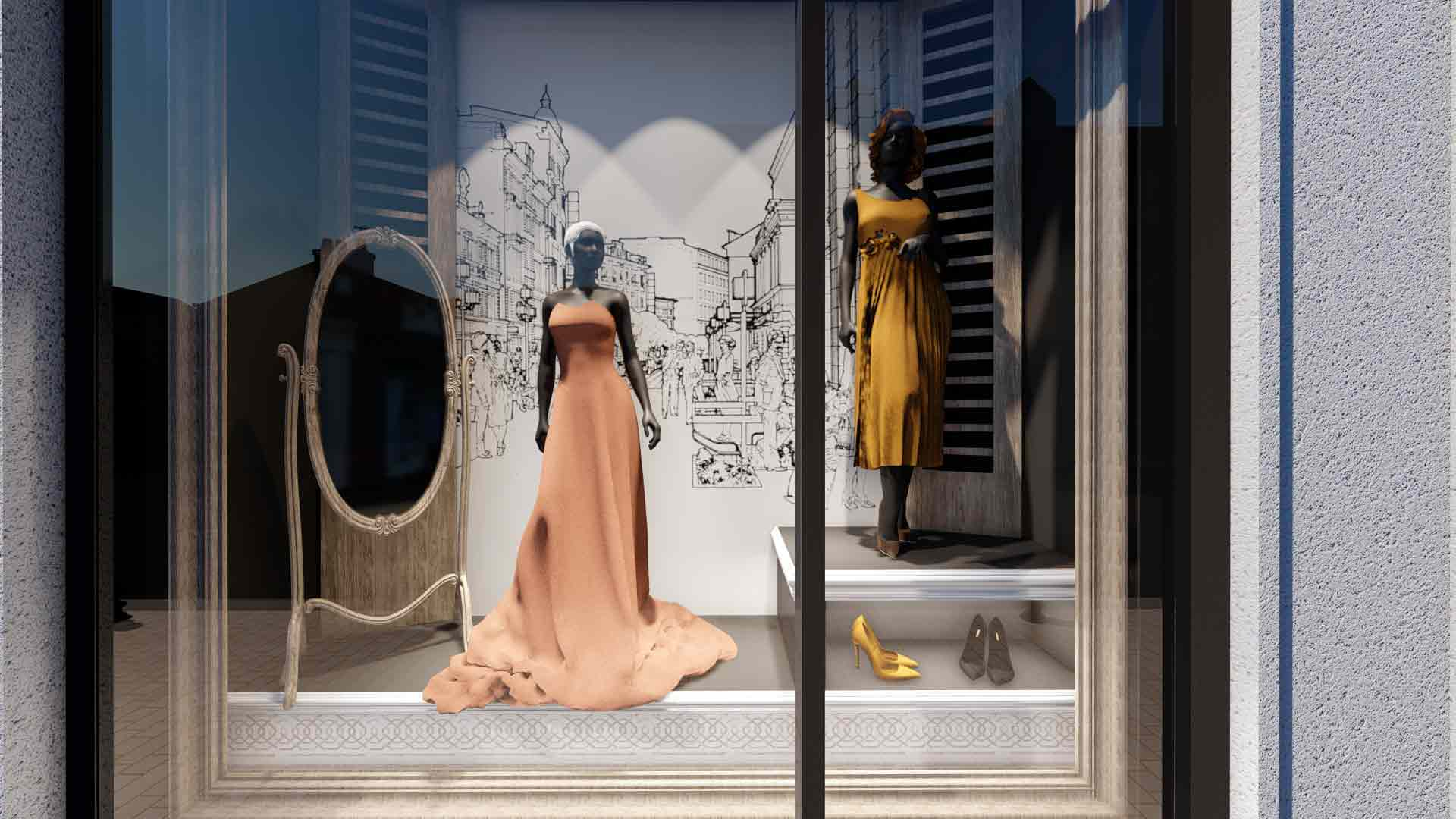 interior vitrină magazin de haine