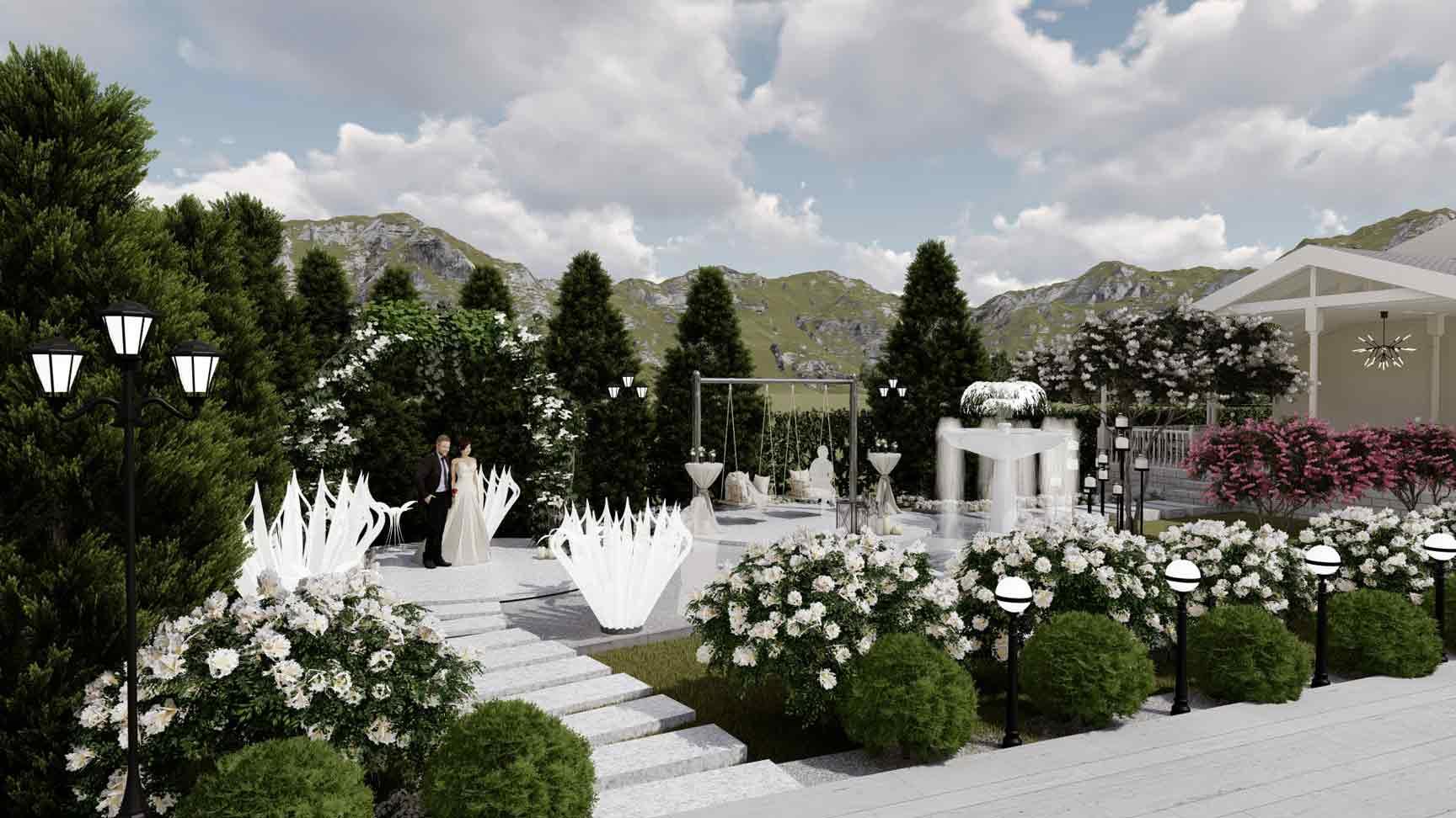 gradina sala de evenimente cu loc pentru cununie