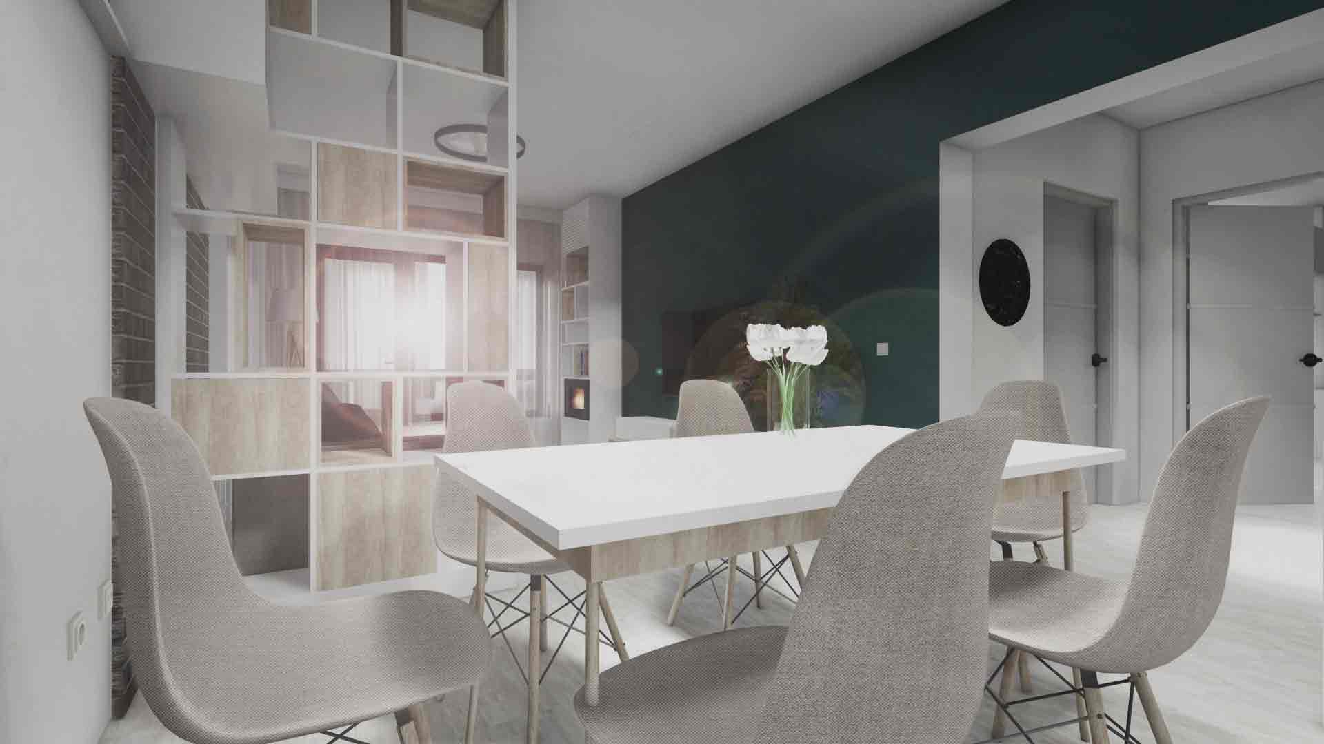 amenajare interioara cu loc de luat masa in living