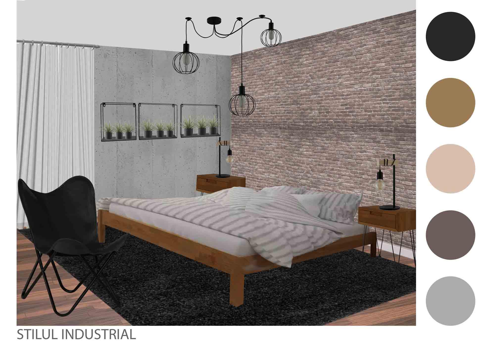 dormitor in stil industrial