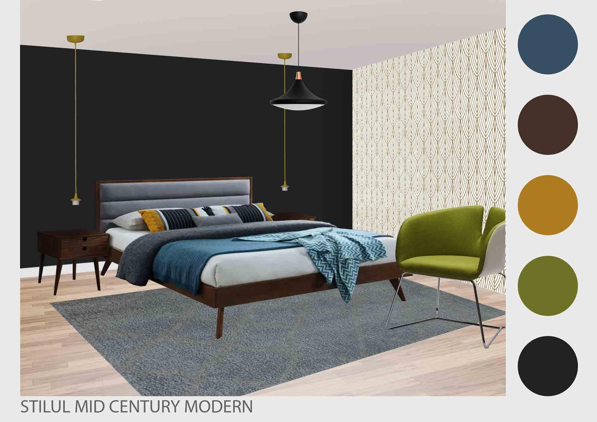 dormitor in stilul mid century