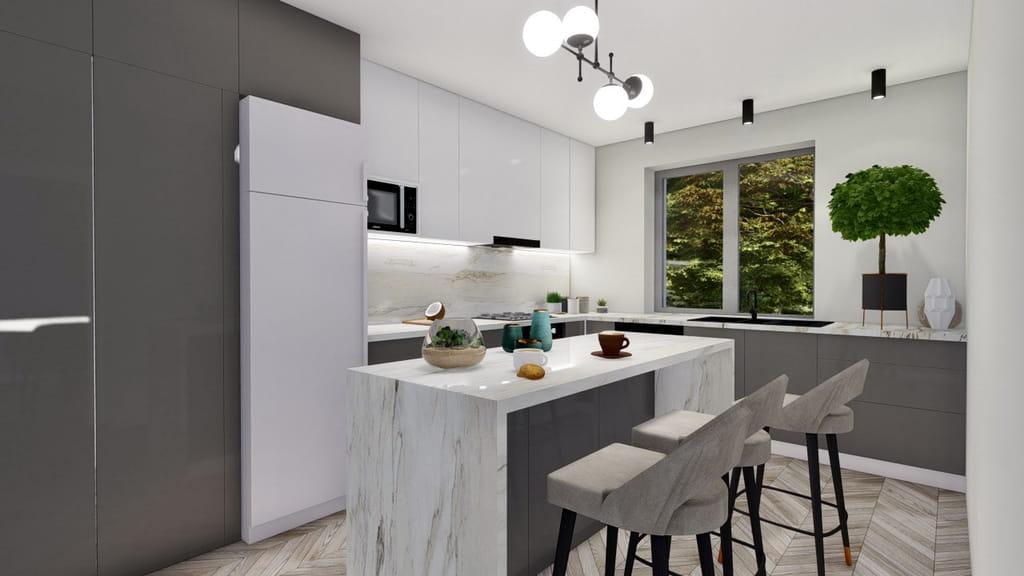 bucatarie minimalista cu insula