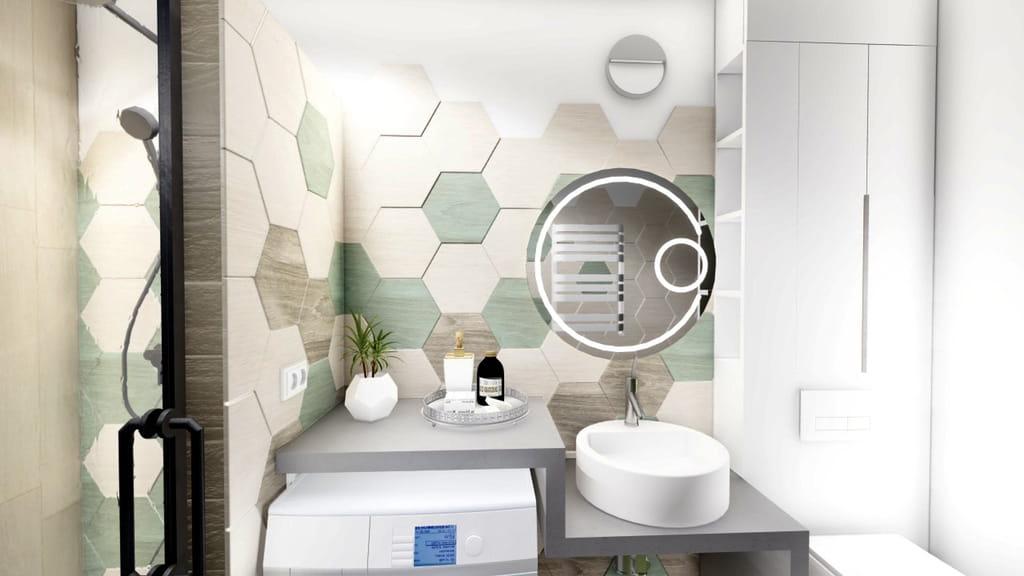 baie cu dus cu hexagoane